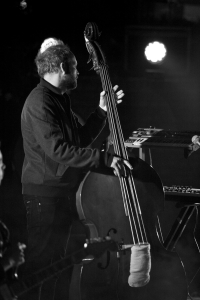 Mathias Eick on the upright bass. He also plays the keys, the trumpet, and the French Horn in the band.<br/><span class='courtesyName'> Photo Courtesy - Vijay Kate  </span>